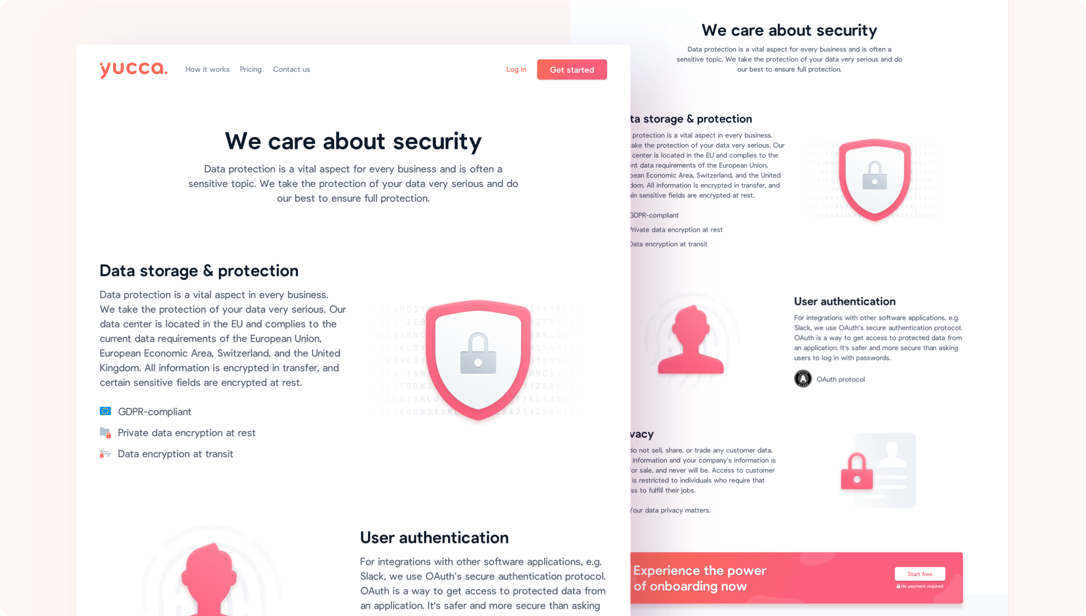 Security page of yuccaHR.